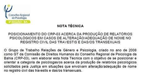 CRP-03 publica nota técnica sobre produção de relatórios psicológicos