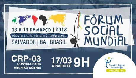 CRP-03 convoca categoria para Fórum Social Mundial
