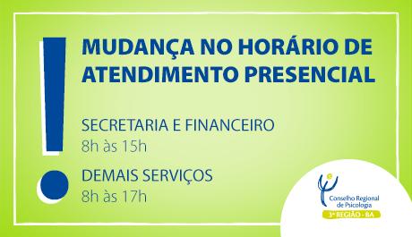 Secretaria e Financeiro têm novo horário de atendimento