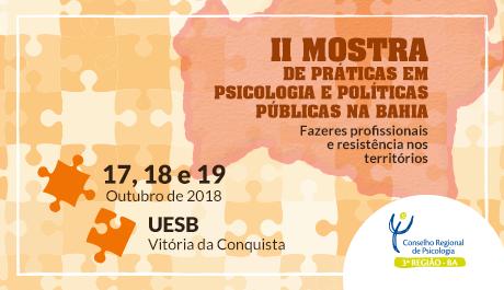 Crepop-03 realiza II Mostra de Práticas em Psicologia e Políticas Públicas na Bahia