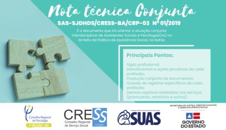 Parceria entre CRP-03, CRESS e SJDHDS resulta em nota técnica para profissionais do Sistema Único de Assistência Social na Bahia
