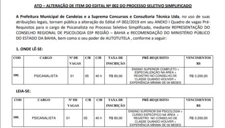 Edital do concurso da Prefeitura de Candeias é modificado por conta da representação do CRP-03