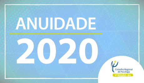 Os valores da anuidade 2020 já estão disponíveis para consulta