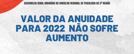 Assembleia Geral Ordinária do CRP-03 decide manter valor da anuidade para 2022